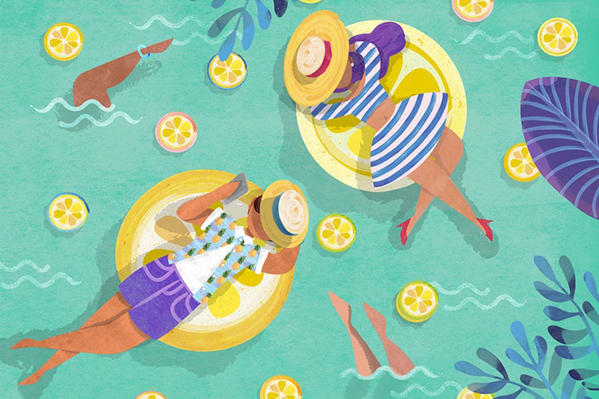 illustratie van twee mensen in een zwembad